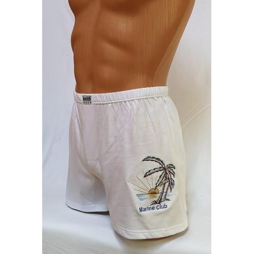 Hímzett fehér pamut boxeralsó, Marina Club mintával