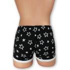 Csillag mintás, fekete stretch alsónadrág, fehér szegőpánttal