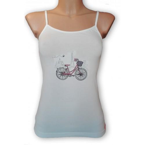 Fehér, spagetti pántos felső, bicikli hímzett mintával
