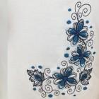 Fehér pamut női trikó, hímzett virág (1) mintával