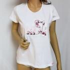 Fehér pamut női póló, hangyák mintával