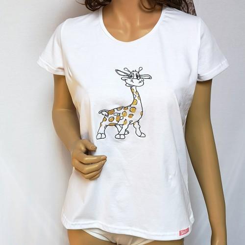 Fehér pamut női póló, zsiráf mintával