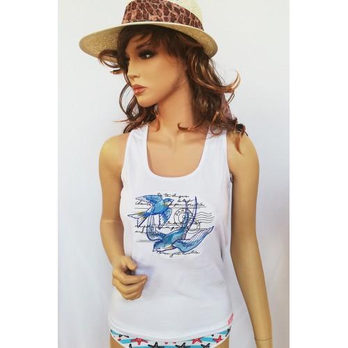 Fehér pamut női trikó, hímzett madarak mintával
