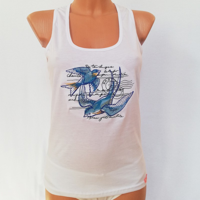 446ae4c4dc Fehér pamut női trikó, hímzett madarak mintával
