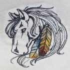 Fehér pamut női trikó, hímzett lófej mintával